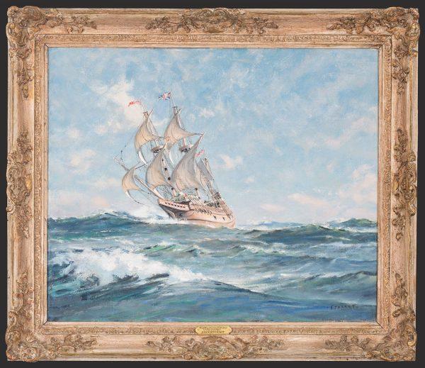 The Mayflower II at Sea Under Full Sail